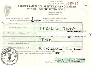 Foreign Births Register - An older style foreign births registration certificate.