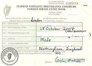 Foreign Births Register