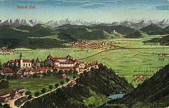 Leutkirch im Allgäu - Schloss Zeil overlooking Leutkirch, circa 1900. The palace of the counts of Waldburg was built just outside the territory of the Free Imperial City.
