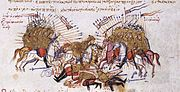 Fighting between Byzantines and Arabs Chronikon of Ioannis Skylitzes, end of 13th century.