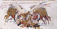 Fighting between Byzantines and Arabs Chronikon of Ioannis Skylitzes, end of 13th century..jpg