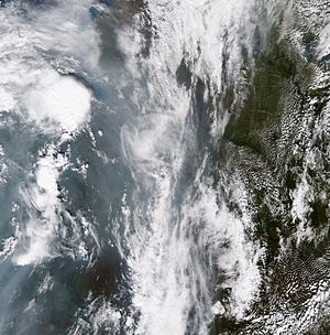 2010 Russian wildfires - Pyrocumulonimbus cloud (circular cloud, left) caused by 1 August 2010 wildfires.