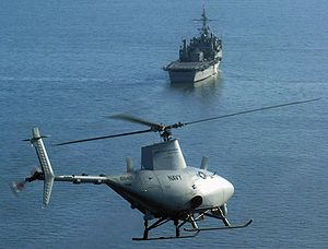 Northrop Grumman MQ-8 Fire Scout - An RQ-8A prepares for the first autonomous landing aboard the USS Nashville (LPD-13) during sea trials, 2006.