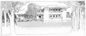 """A Fireproof House for $5000 - Perspective drawing of the """"Fireproof House""""."""