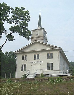 The First Baptist Church in Wellsburg, built by settlers in the 1790s.