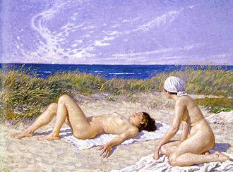 Paul Gustav Fischer - Paul Fischer: Sunbathing in the Dunes, 1916