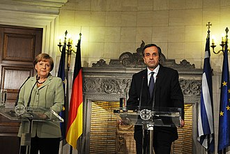 Antonis Samaras - With Angela Merkel in Athens