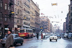 Folkungagatan mod øst i højde med Östgötagatan, januar 1963 og fra samme sted 2008