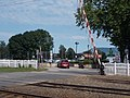 Fonyód railway station, level crossing, 2016, Hungary.jpg