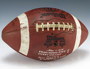 Framingham State University - A football signed by the 1975 Framingham State Rams football team after defeating Curry College, 16-8.