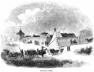 Pembina, North Dakota - Fort Pembina and Red River ox carts, c. 1870