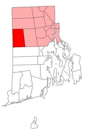 Location in Providence County and the state of Rhode Island.