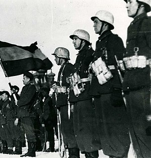 Spain during World War II - Spanish volunteers at an official act.