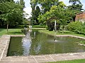 Fountain at end of formal moat - geograph.org.uk - 1273838.jpg