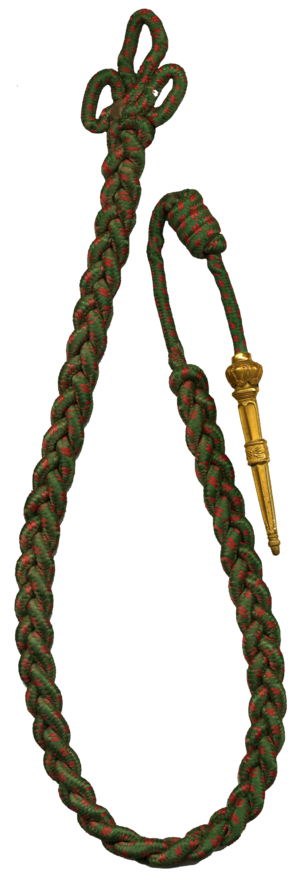 505th Infantry Regiment (United States) - Red and Green woven citation cord with brass tip