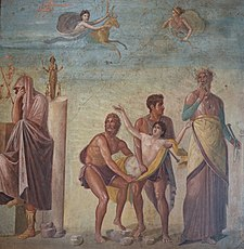 Fourth Style fresco depicting the Sacrifice of Iphigenia, from the House of the Tragic Poet in Pompeii, Naples National Archaeological Museum (17430222481).jpg