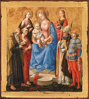 Francesco Pesellino - ' Virgin and Child with Six Saints', small (25 x 23 cm) tempera on panel painting by Pesellino, c. 1450, Metropolitan, New York