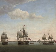 Francis Holman, Commodore James in the Protector, with the Revenge and the grab Bombay in the bay off the Suvarnadrug fort at Gheriah, India, April 1755 (18th century)
