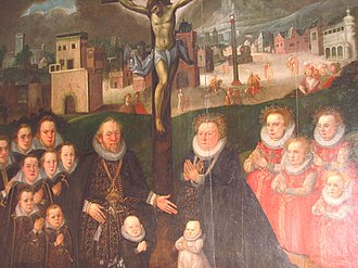 Francis II, Duke of Saxe-Lauenburg - Portrait of Francis II with his wife Mary and their family, originally in Franzhagen Castle chapel, now in St. Mary's Church in Büchen.