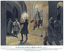 Frederick's arrival at the castle of Lissa, where he is greeted by Austrian officers