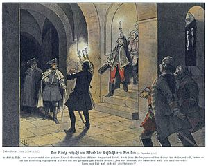 Battle of Leuthen - Richard Knötel's depiction of Frederick's arrival at the Schloss von Lissa after the Battle of Leuthen; he was greeted by astonished Austrian officers (the men wearing the white jackets).