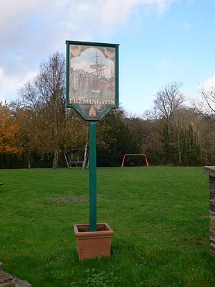 Sign on the village green