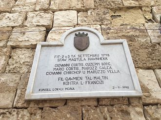 Mdina - Plaque near the Torre dello Standardo commemorating six Maltese people who were killed during the uprising of September 1798