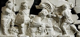 Tarpeia - Soldiers attacking Tarpeia, on a fragmentary relief from the frieze of the Basilica Aemilia (1st century AD)