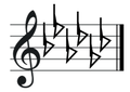 G flat major key signature on treble clef.png
