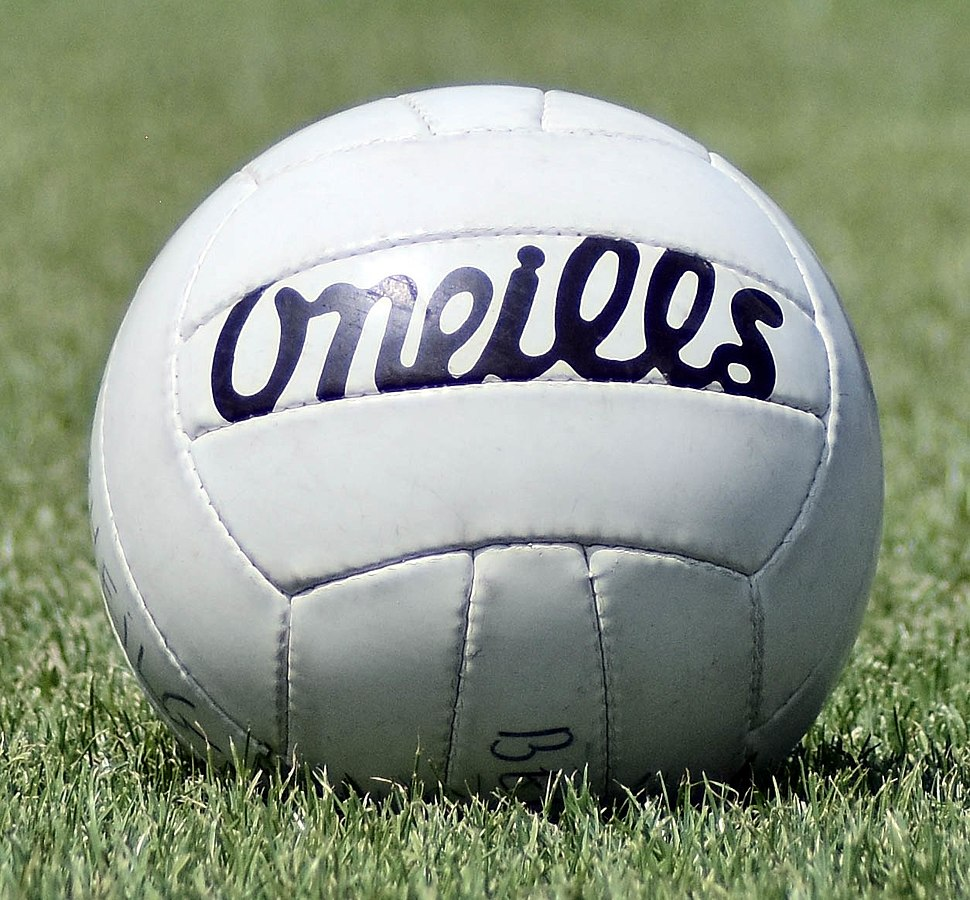 Gaelic football ball on pitch