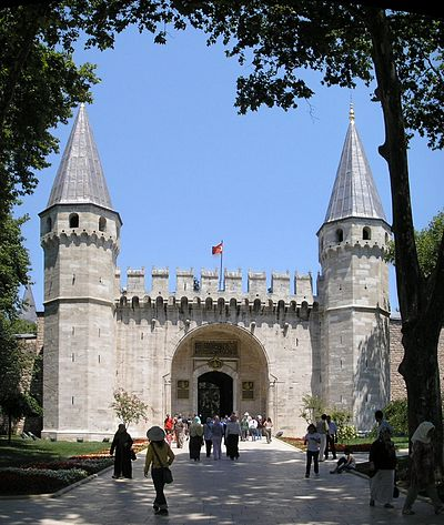 The Topkapi Palace served as the main residence and administrative headquarters of the sultans of the Ottoman dynasty. Gate of Salutation Topkapi Istanbul 2007 Pano.jpg