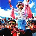 Gavari Bhanjara scene with gypsy trader being blocked by Meena bandits.jpg