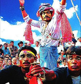 Gavari - Image: Gavari Bhanjara scene with gypsy trader being blocked by Meena bandits