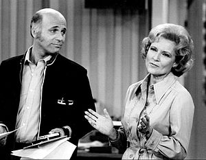 Gavin MacLeod - MacLeod with Betty White on set of The Mary Tyler Moore Show in  August 1975