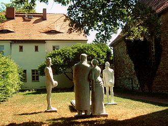 Röcken - Monument in the garden of Nietzsche's childhood home