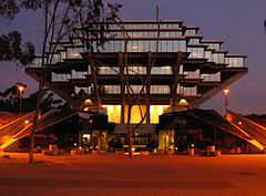 """UCSD's distinctive Geisel Library, named for Theodor Seuss Geisel (""""Dr. Seuss"""") and featured in UCSD's logo."""