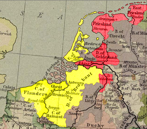 Guelders Wars - Yellow: Holland, Flanders, Brabant and Hainaut. Red: Guelders, Groningen and Frisia.