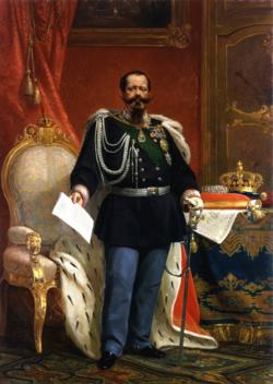 Gemälde des Victor Emmanuel II mit der Krone des Königs von Italien.png