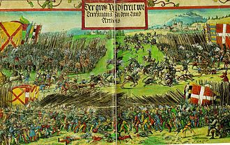 Battle of the Spurs - Georg Lemberger, miniature for the triumph of the Emperor Maximilian I (1513–15)