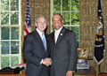 George W. Bush and Ewart Brown.jpg