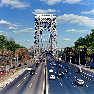 George Washington Bridge Plaza - View looking east to the bridge, south of which is Fort Lee Historic Park, contiguous with Palisades Interstate Park.