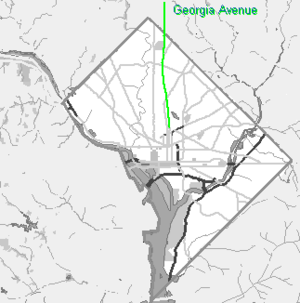 Georgia Avenue - Small grayscale map of Washington DC showing Georgia Avenue