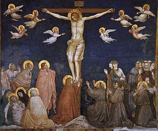 Giotto e collaboratori, Crocifissione con cinque francescani