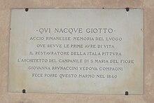 Targa sulla casa natale di Giotto a Vespignano