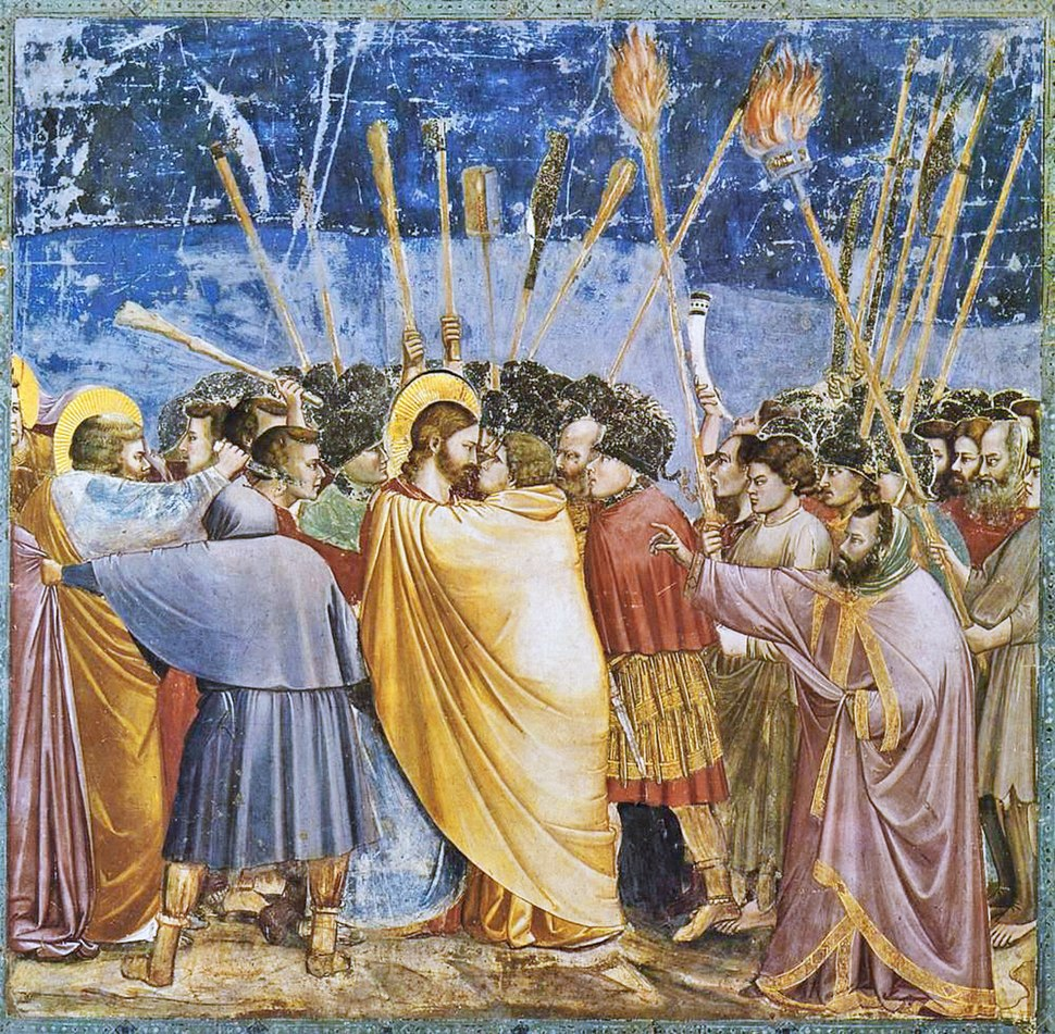 Giotto di Bondone - No. 31 Scenes from the Life of Christ - 15. The Arrest of Christ (Kiss of Judas) - WGA09216 adj