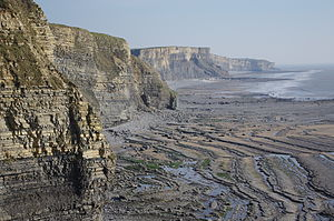 Southerndown - Cliffs on the Glamorgan Heritage Coast south of Dunraven Park.