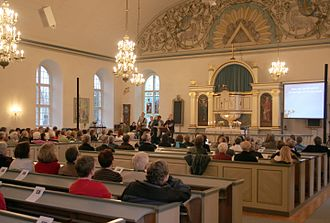 Parishes of the Church of Sweden - Glimåkra Parish service inside Glimåkra Church.