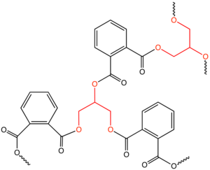 Polyol - Structure of an idealized alkyd resin derived from the polyol glycerol (red) and phthalic anhydride.