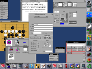 GNUstep screenshot, showing Window Maker and a variety of applications developed with the GNUstep libraries, including a gomoku game, calculator, and TextEdit.[1]
