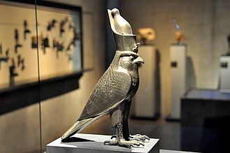 Horus - Image: God Horus as a falcon wearing the Double Crown of Egypt. 27th dynasty. State Museum of Egyptian Art, Munich